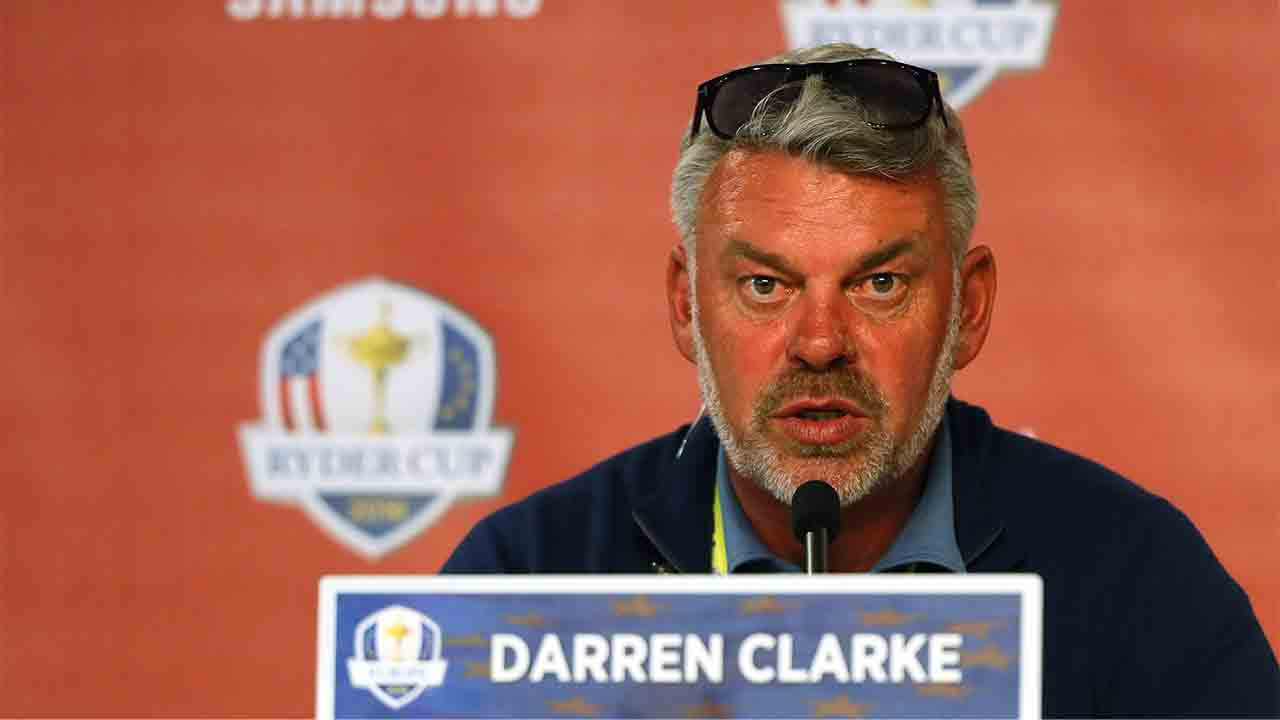 CHASKA, MN - SEPTEMBER 30: Captain Darren Clarke of Europe speaks to the media after afternoon fourball matches of the 2016 Ryder Cup at Hazeltine National Golf Club on September 30, 2016 in Chaska, Minnesota.   Andrew Redington/Getty Images/AFP