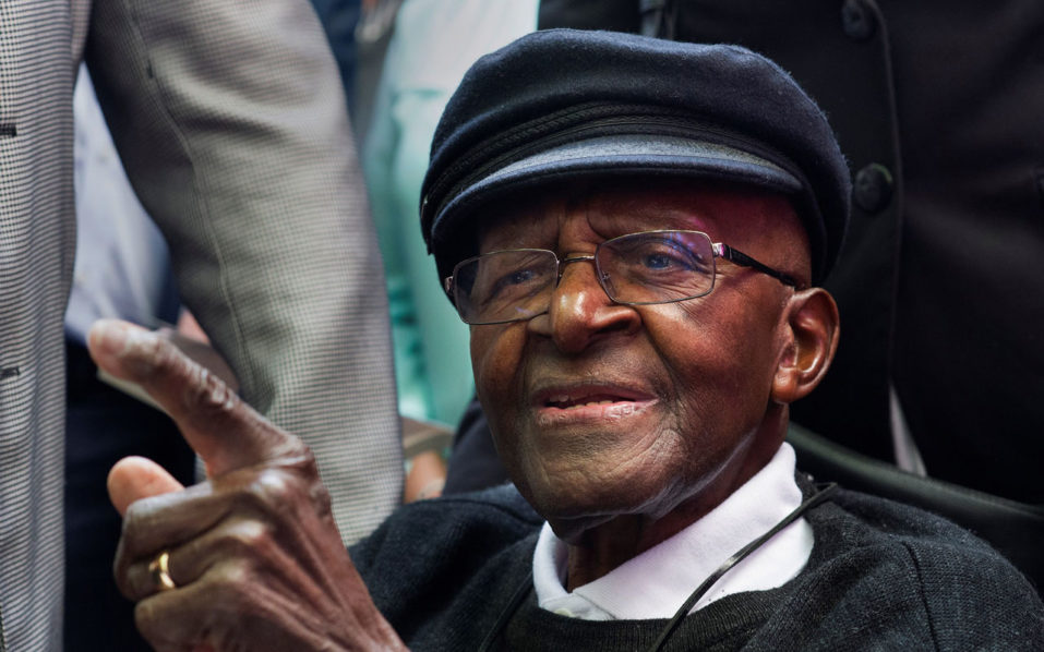 South African retired Anglican archbishop and anti-apartheid icon Desmond Tutu is pictured during a tea party held to mark his 85th birthday on October 7, 2016 in Cape Town. / AFP PHOTO / Rodger Bosch
