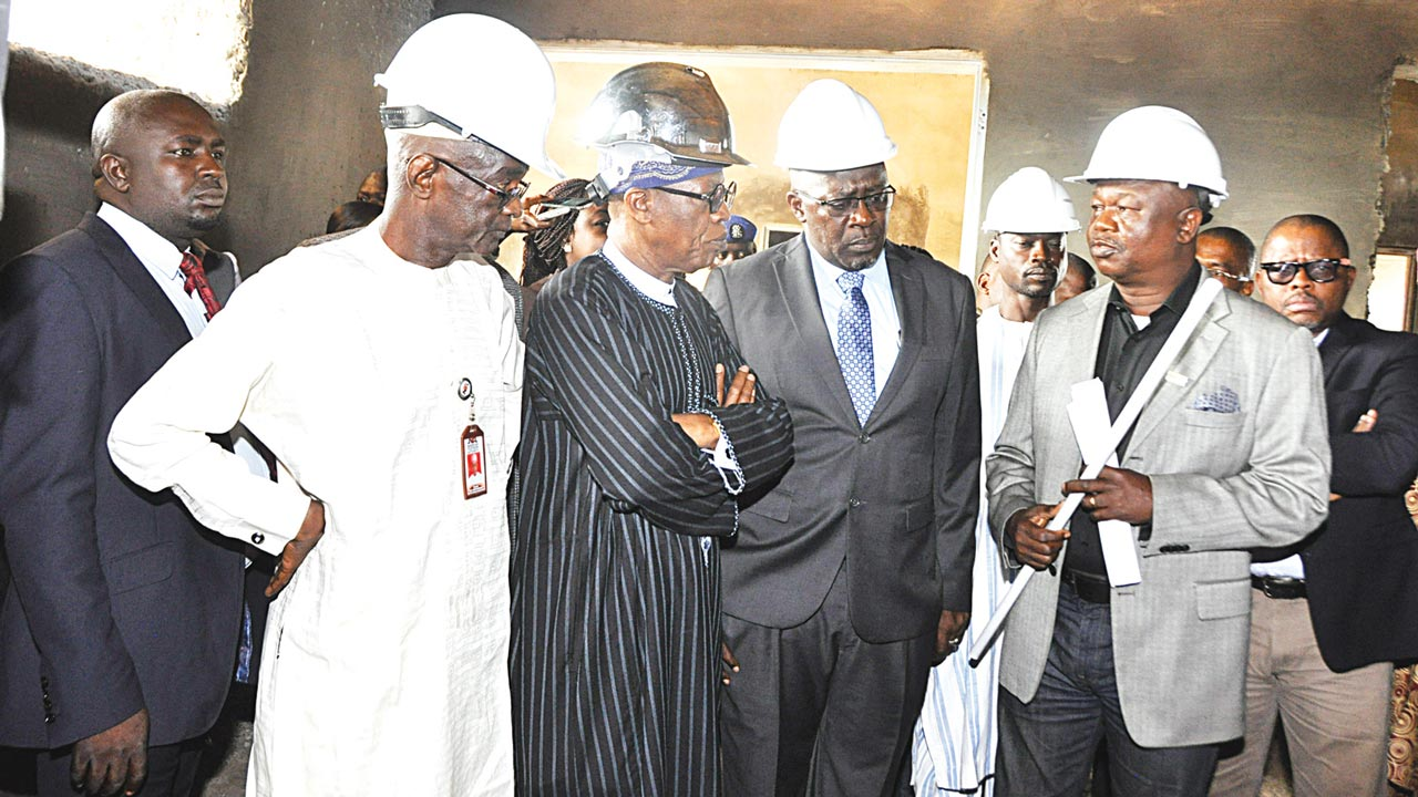Director General of NTA, Mallam Yakub Ibn Mohammed, Minister of Information and Culture, Alhaji Lai Mohammed, the Director General NBC, Ishaq Modibbo Kawu and Mr. Yomi Bolarinwa, Consultant of Pinnacle Communication Limited during the facility tour of the company in Abuja on Tuesday preparatory to the launch of the Digital Switch Over in Abuja last week.