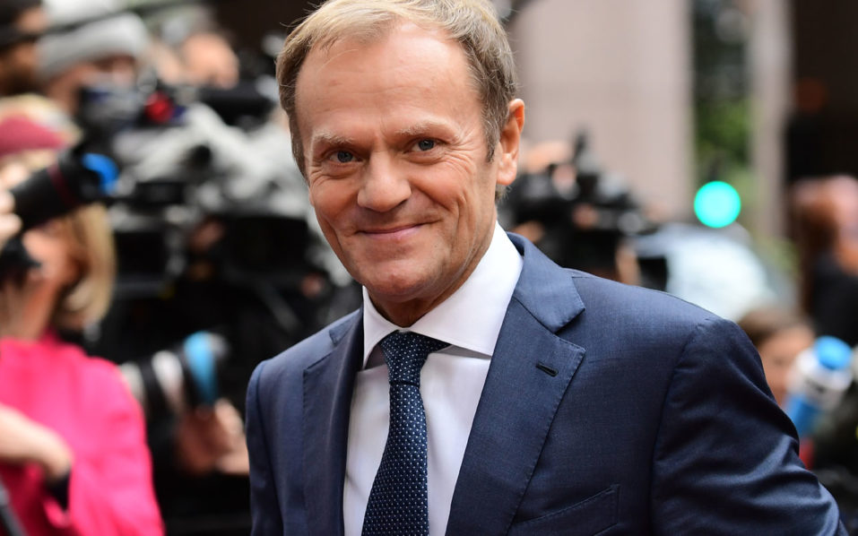 European Council President Donald Tusk arrives for an European Union leaders summit on October 20, 2016 at the European Council, in Brussels. / AFP PHOTO / EMMANUEL DUNAND