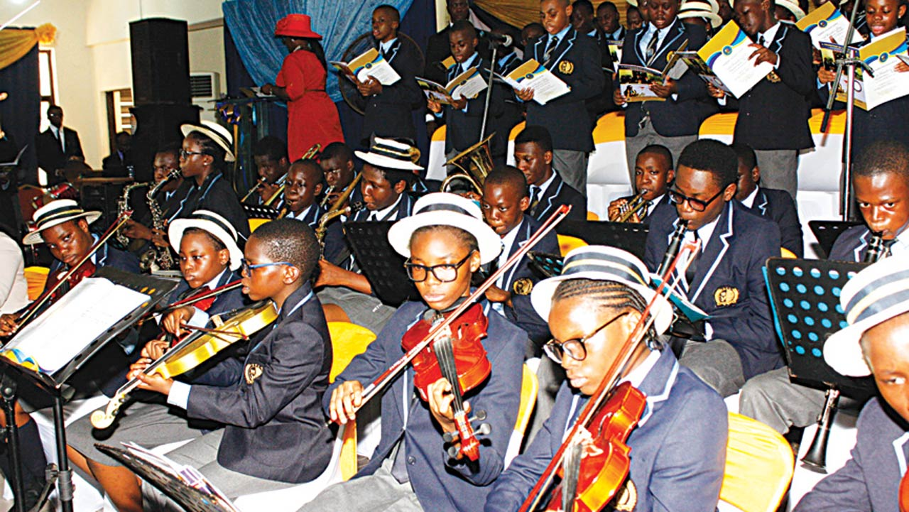 A cross section of Dowen College Orchestra during the school's Founder's Day Anniversary/Prize-giving ceremony.