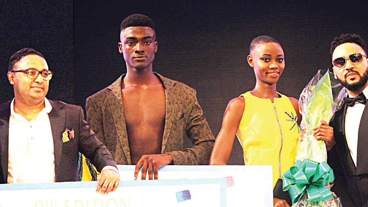 Head of Marketing, Seven-Up Bottling Company Plc, Mr. Norden Thurston, Aquafina Elite Model Look Nigeria (Aquafina EMLN) 2016 winner (male) Davidson Obennebo; winner (female), Omoh Momoh and III Rhymes, Aquafina EMLN host at the Aquafina Elite Model Look Nigeria grand finale in Lagos recently