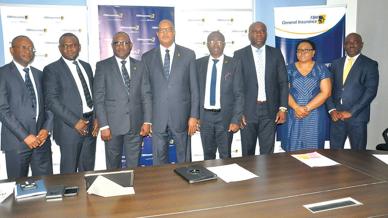 Head ERM & Annuity Services, FBNI, Adeola Adekunle (left); MD/CEO, FBNGI, Bode Opadokun; MD/CEO, FBNInsurance Limited, Val Ojumah; Head, Brokers Market & Public Sector, Olasupo Sogelola; Retail Distribution, FBNI, Kelvis Eikponobhoa; and Head Marketing & Corporate Communications, FBNI, Elizabeth Agugoh, during the Media Product fair for FBNInsurance and FBN General Insurance held recently.