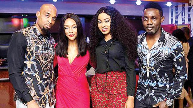 Prince Dilly Umenyiora, his wife Fifi with comedian AY and Wife, Mabel at the opening of Jamo-Afrique.