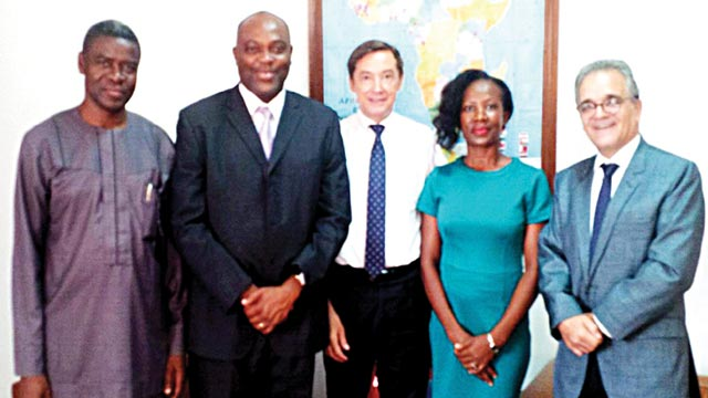Special Assistant to the Vice Chancellor, Federal University Ndufu Alike, Ikwo, Ebonyi State, Mr. Chris Uwadoka (left), vice chancellor of the school, Prof. Chinedum Nwajiuba, France Ambassador to Nigeria, Mr. Denys Gauer; Dr. Nnenna Nwosu; and Cultural and Cooperation Attaché, Arnaud Dornon, during the vice chancellor's visit to the envoy in Abuj.