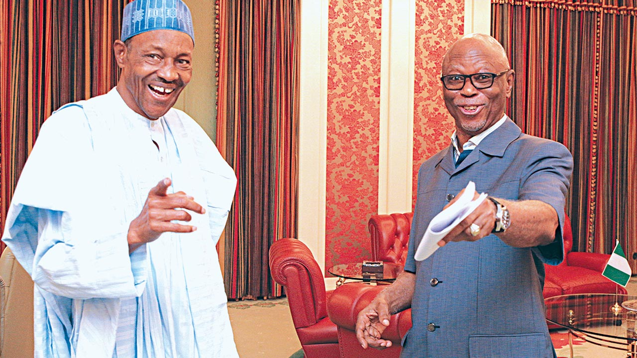 President Muhammadu Buhari (left) and All Progressives Congress (APC) National Chairman, Chief John Odigie-Oyegun at the State House, Abuja …yesterday. PHOTO: PHILIP OJISUA