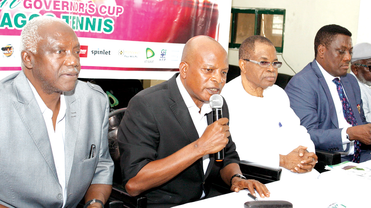 Tournament Director, Lagos Tennis Governor's Cup, Prince Wale Oladunjoye (left);  Vice president, Nigerian Tennis Federation, Yemi Owoseni; Chairman, Local Organising Ceremony, Chief Pius Akinyelure and President, Lagos Lawn Tennis Club, Rotimi Edu at the press conference of the 16th Lagos Governor Tennis Cup  in Lagos…yesterday     PHOTO: FEMI ADEBESIN-KUTI