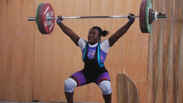 Gbemisola Yusuf of Ondo State took part in women weightlifting at the Eko 2012 National Sports Festival. PHOTO: FEMI ADEBESIN-KUTI.