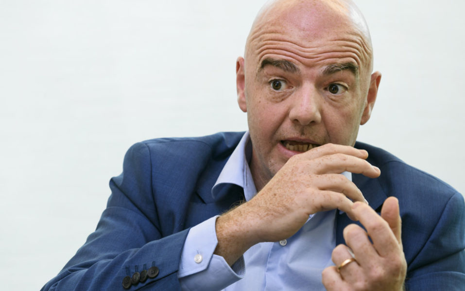 FIFA president Gianni Infantino poses for a picture during a interview with AFP / AFP PHOTO / FABRICE COFFRINI
