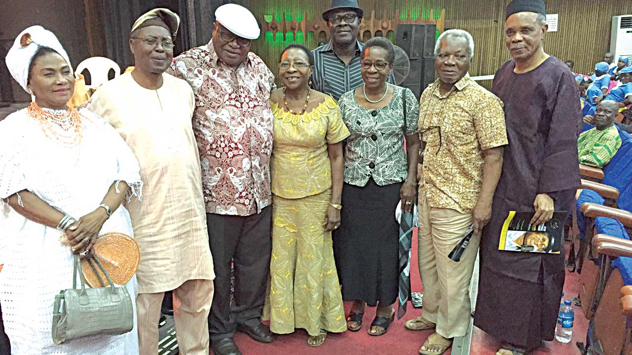 Erelu Abiola (left); Dr. Wale Adeniran; Dr. Cole; Mrs Francesca Emanuel; Akin Adejuwon; Prof. J.P. Clark and Engineer S.O. Uwaifo… at the colloquium