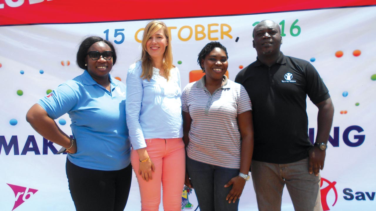 From Left, Nwamaka Ifionu, Behaviour Change Communication Advisor, Save the Children(SC), Aliza Laferink, Marketing Director, Reckitt Benkiser (RB), West Africa, Omolola Bamigbaiye-Elatuyi, Marketing Manager, RB and Babatunde Folorunsho, Advocacy Adviser, SC during the global hand washing event organised by SC for pupils in Lagos