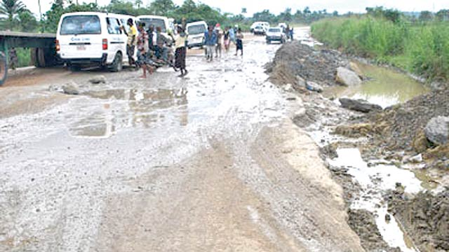 Bad portion of Calabar-Itu road at Odukpani axis