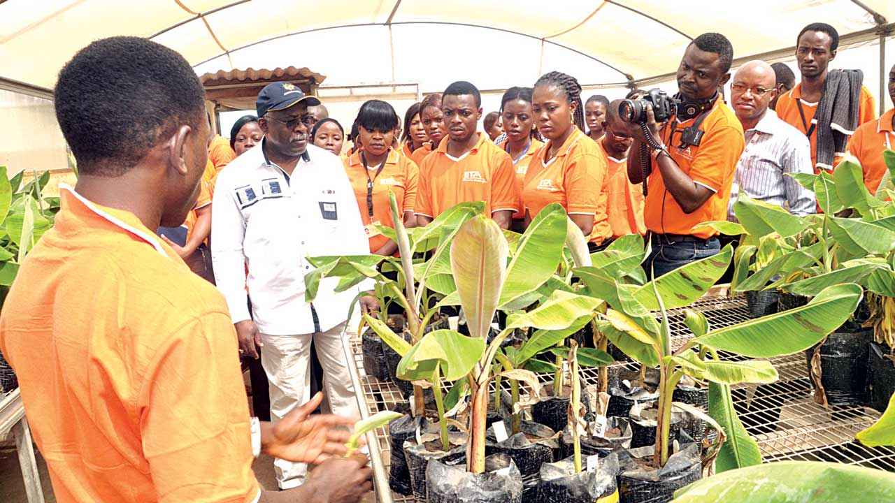 President of the International Fund for Agricultural Development (IFAD), Kanayo Nwaze, with International Institute of Tropical Agriculture Youth Agripreneurs in Banana macrochamber, during his visit to the institute.
