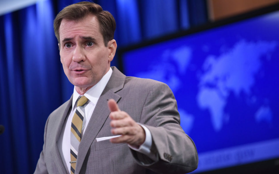 "(FILES) This file photo taken on January 6, 2016 shows State Department Spokesman John Kirby during the daily briefing at the State Department in Washington, DC.  The United States on October 3, 2016 suspended negotiations with Russia on efforts to revive a failed ceasefire in Syria and set up a joint military cell to target jihadists. ""This is not a decision that was taken lightly,"" State Department spokesman John Kirby said, accusing Russia and its Syrian ally of stepping up attacks on civilian areas.  / AFP PHOTO / MANDEL NGAN"