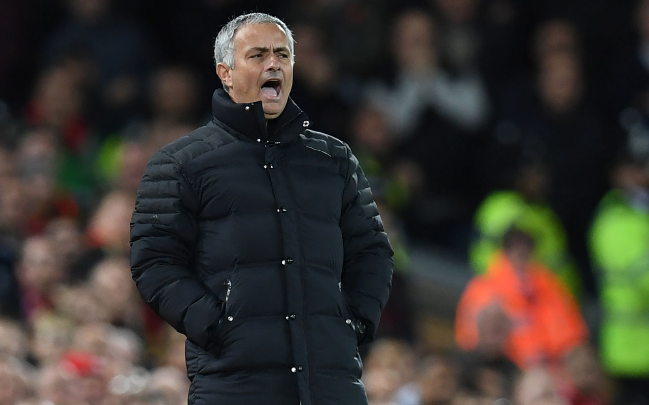 Manchester United's Portuguese manager Jose Mourinho gestures during the English Premier League football match between Liverpool and Manchester United at Anfield in Liverpool, north west England on October 17, 2016. / AFP PHOTO / Paul ELLIS /