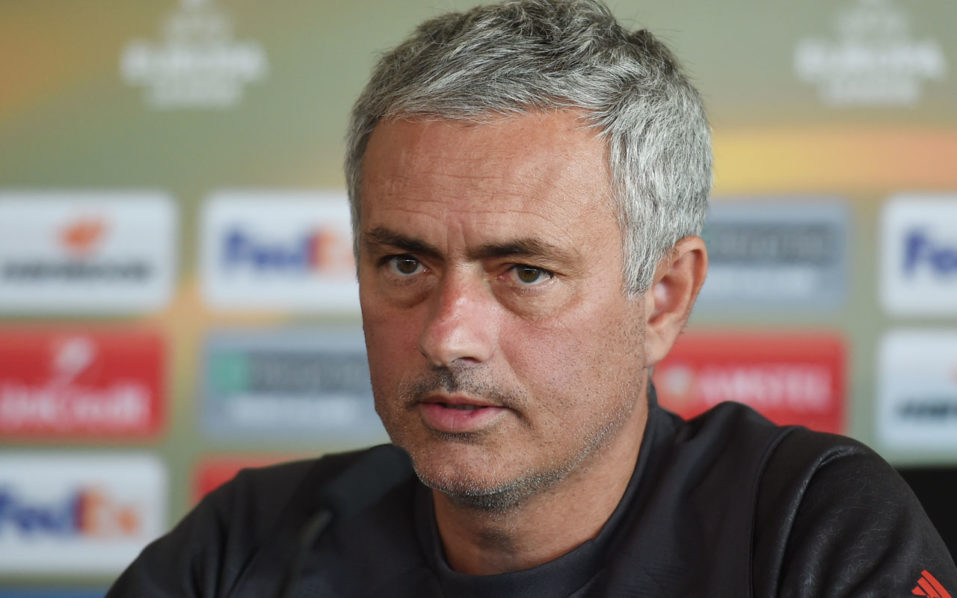 Manchester United manager Jose Mourinho takes part in a press conference at their Carrington base in Manchester, northwest England, on October 19, 2016 ahead of their UEFA Europa League group A football match against Fenerbahce on October 20. / AFP PHOTO / PAUL ELLIS