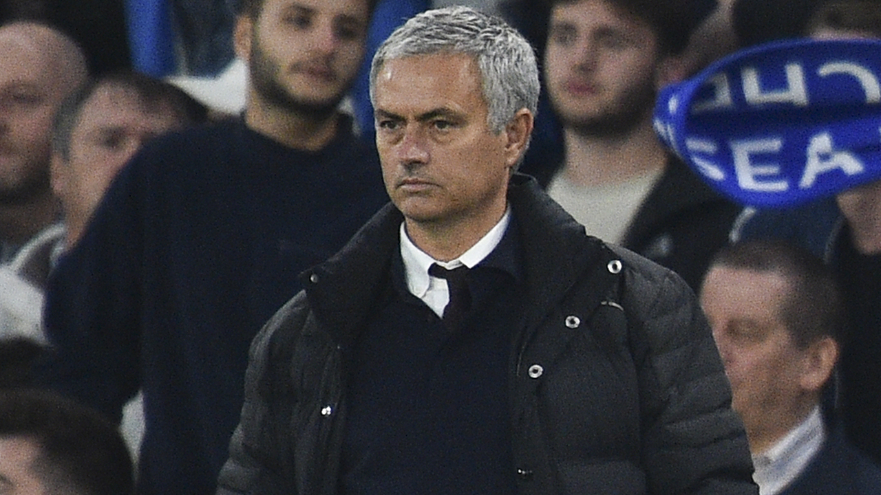 Manchester United's Portuguese manager Jose Mourinho looks on from the touchline during the English Premier League football match between Chelsea and Manchester United at Stamford Bridge in London on October 23, 2016. / AFP PHOTO / GLYN KIRK
