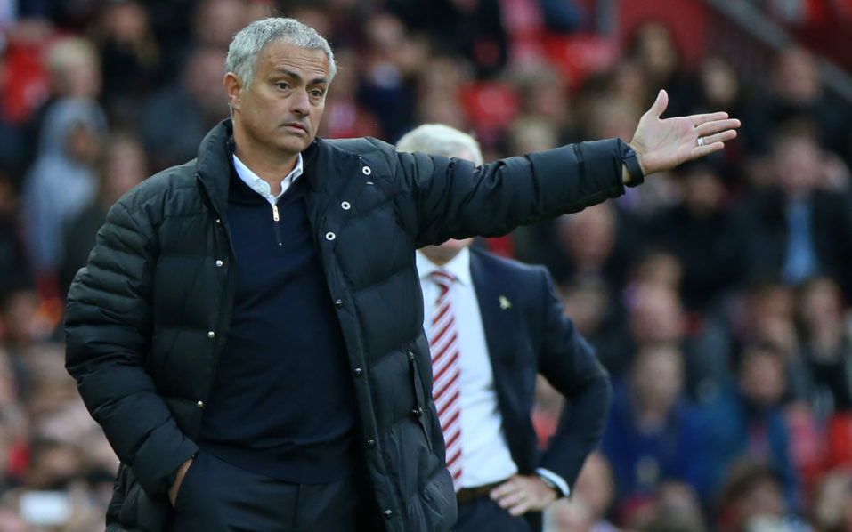 Manchester United's Portuguese manager Jose Mourinho gestures on the touchline during the English Premier League football match between Manchester United and Stoke City at Old Trafford in Manchester, north west England, on October 2, 2016. The game ended 1-1. / AFP PHOTO / Scott Heppell /