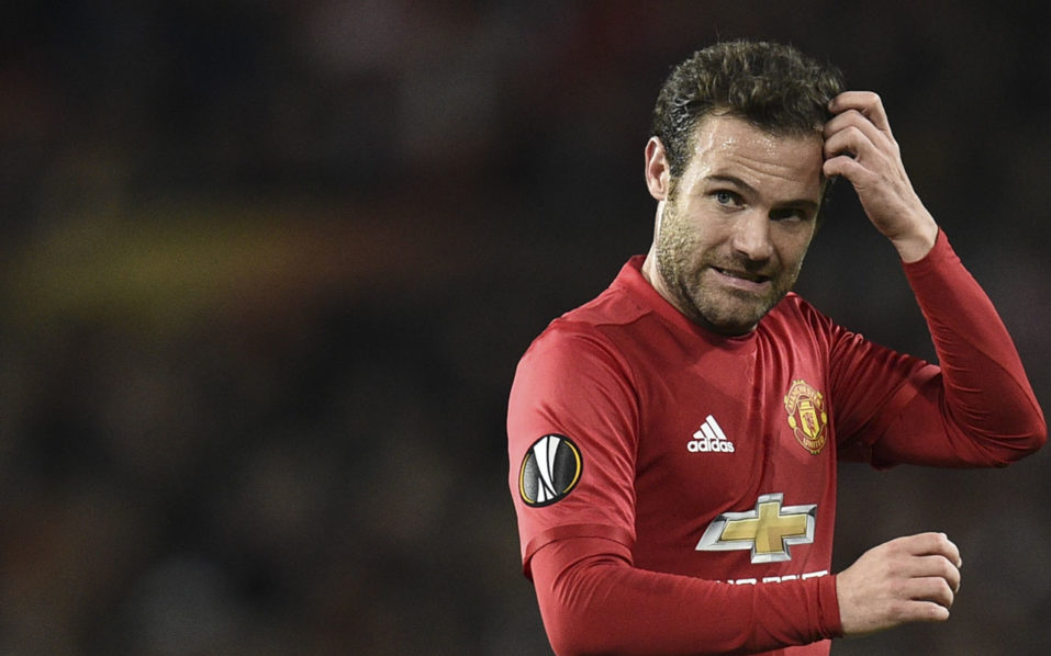 Manchester United's Spanish midfielder Juan Mata reacts during the UEFA Europa League group A football match between Manchester United and Fenerbahce at Old Trafford in Manchester, north west England, on October 20, 2016. / AFP PHOTO / OLI SCARFF