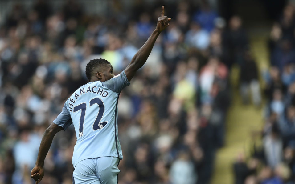 Manchester City's Nigerian striker Kelechi Iheanacho celebrates after scoring their first goal during the English Premier League football match between Manchester City and Southampton at the Etihad Stadium in Manchester, north west England, on October 23, 2016. / AFP PHOTO / Oli SCARFF /