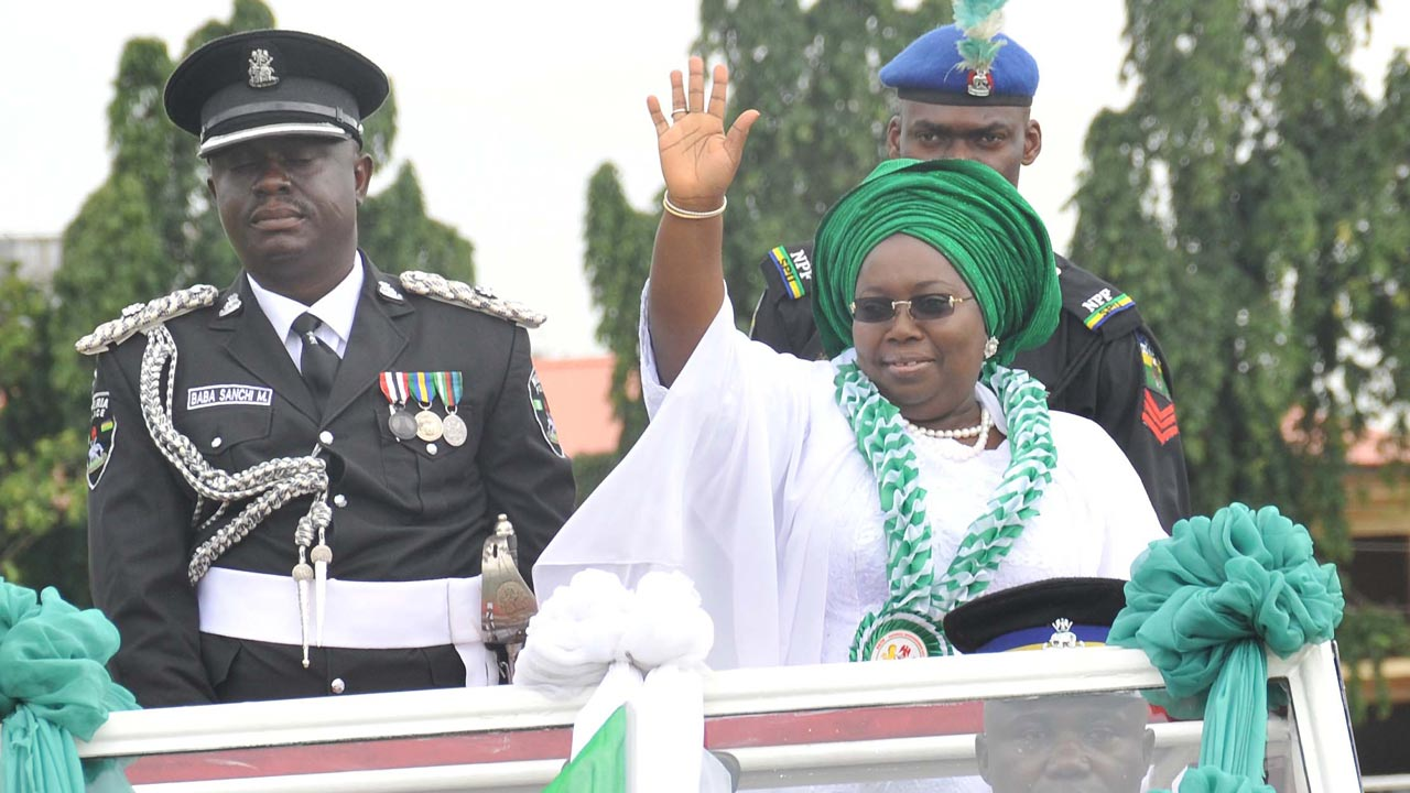 Oluranti Adebule taking salute to mark Independence Day at Police College...on Saturday