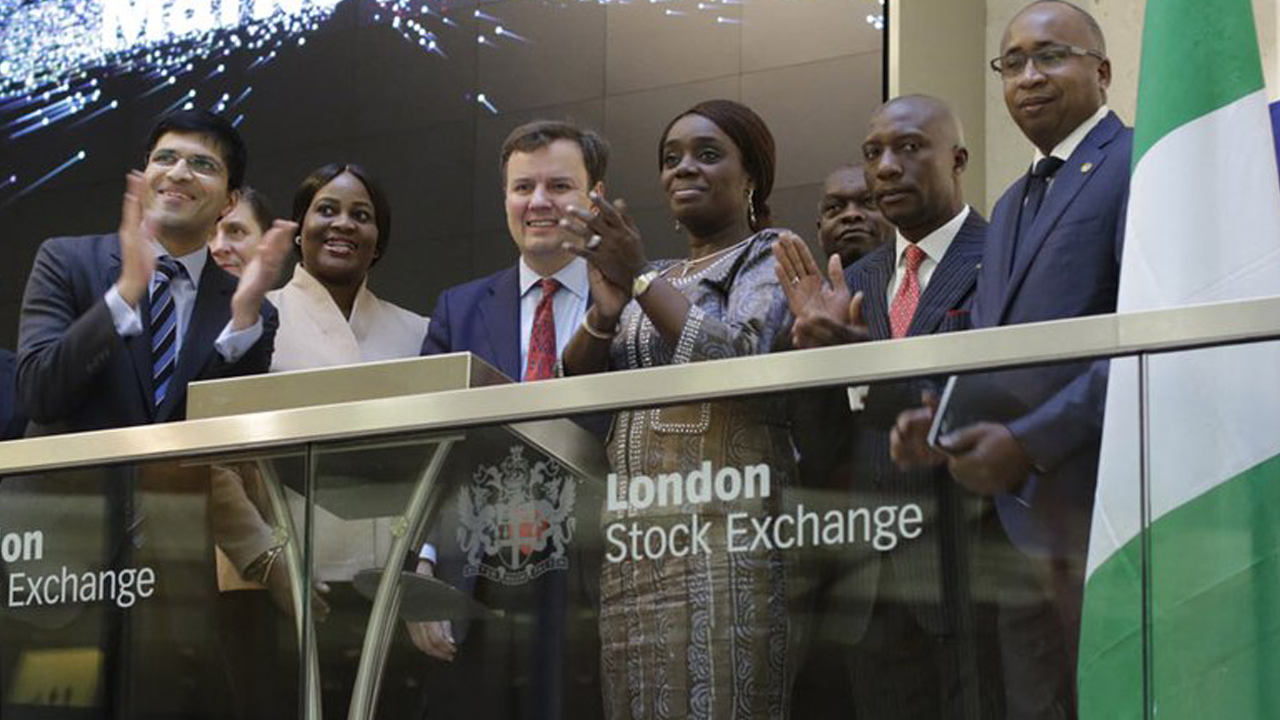 Chief Executive Officer, London Stock Exchange (LSE), Nikhil Rathi (left); Director-General, National Pension Commission (PENCOM), Chinelo Anohu-Amazu; UK Minister for International Trade, Greg Hands; Nigeria's Minister of Finance, Kemi Adeosun; Chief Executive Officer, the Nigerian Stock Exchange (NSE), Oscar N. Onyema; Executive Director, Capital Markets Division, Haruna Jalo-Waziri, at the Opening Bell Ceremony of LSE to kick off the third London and Lagos Capital Markets in Partnership conference, organised by both bourses in London, at the weekend.