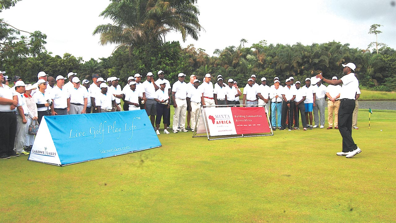 Head of Operations, Lakowe Lakes Golf Club, Lagos State, Femi Olagbenro, addressing golfers during the Fourth Anniversary and Independence Day Pro-Am Tournament, shortly before tee-off, over the weekend