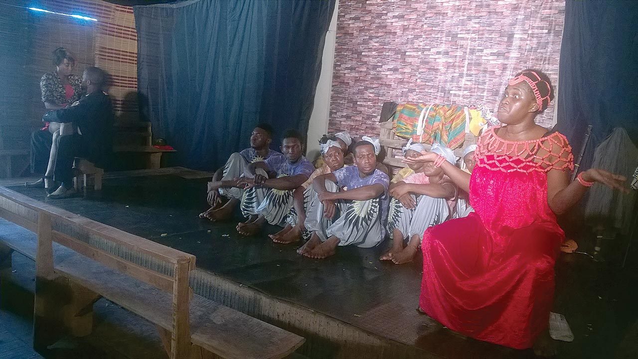 A scene from Chinweizu's The Divorce of Lawino and Ochol performed by Crown Troupe of Africa at Theatre Repulic last week... in Lekki, Lagos