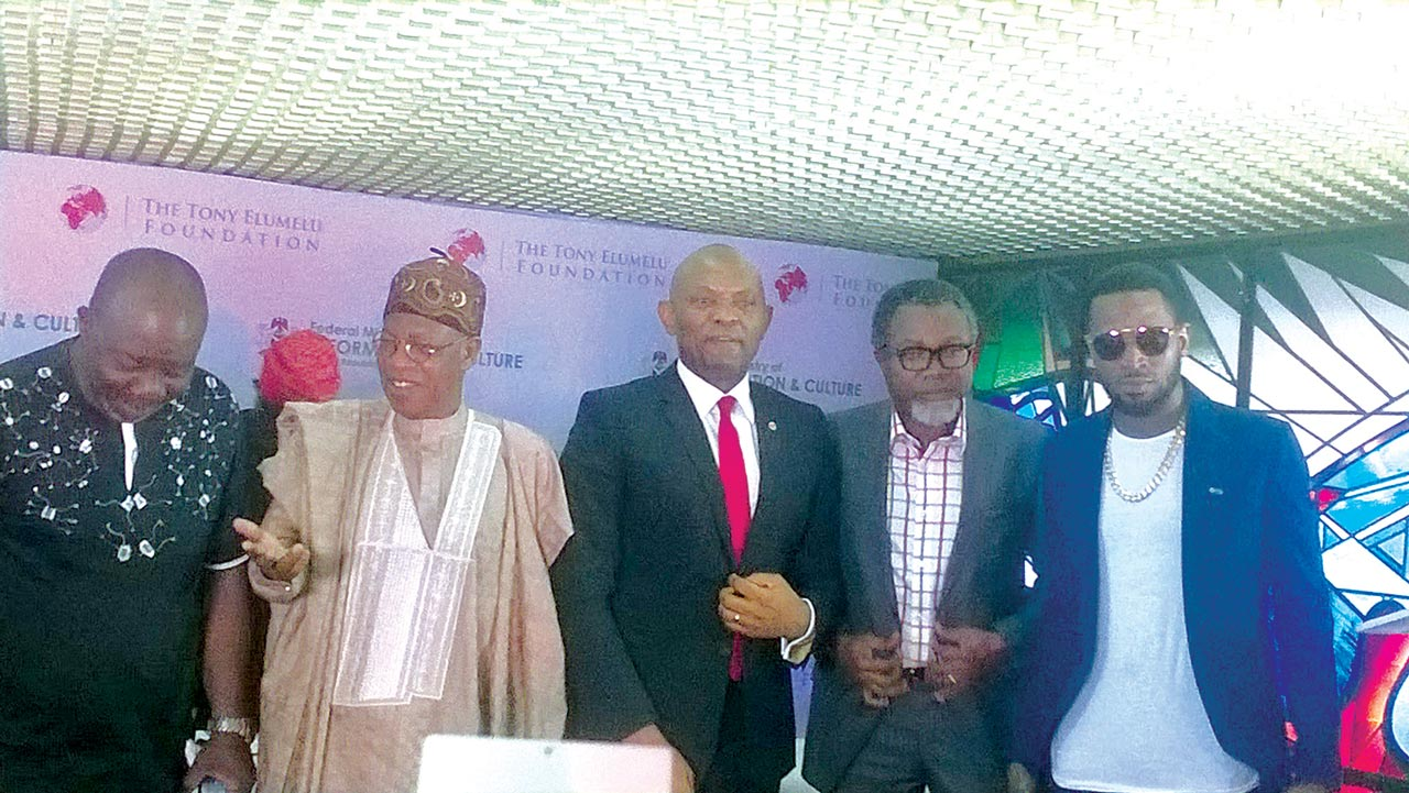 Film Producer, Mr. Zeb Ejiro; Minister of Information and Culture, Alhaji Lai Mohammed; Chairman, Tony Elumelu Foundation, Mr. Tony Elumelu; film producer, Mr. Mahmood Ali-Balogun and musician, D'Banj at the MoU signing between the ministry and the foundation at National Theatre… in Lagos