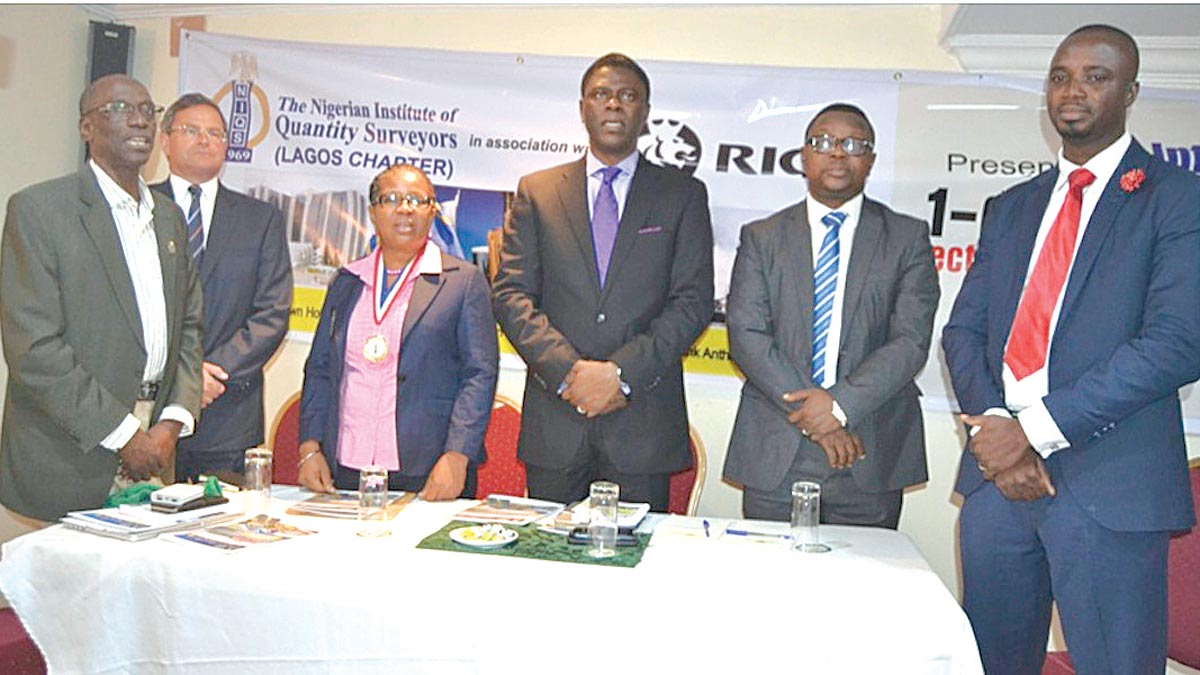 Member of International Construction Measurement Standards Coalition, Mr. Ruya Fadason (left); Chair of International Ethics Standards Coalition, Global Property Standards Director, International Standards RICS, Mr. Peter Bolton King; Chairman, NIQS Lagos Chapter, Mrs Adenike Ayanda; Deputy President, NIQS, Mr. Obafemi Onashile; Secretary, NIQS Marketing and Corporate Affairs, Mr Jide Oke and Regional Manager, West Africa, RICS, Mr Benjamin Manu at one-day Seminar on International Standards organised NIQS Lagos and RICS in Lagos