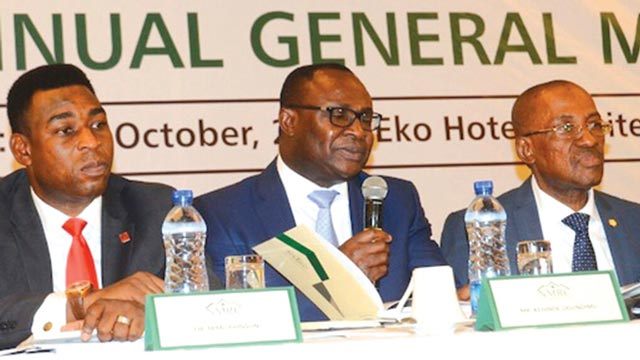 President, Mortgage Banking Association of Nigeria (MBAN), Dr. Femi Johnson; Chief Financial Officer, Nigeria Mortgage  Refinance Company (NMRC), Mr. Kehinde Ogundimu and Chief Executive Officer, Prof. Charles Inyangete during the  company's Annual General Meeting in Lagos