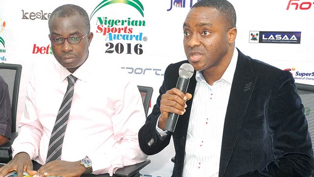 Chairman, HS Media Group, Taye Ige (right), and Managing Director of Unmissable Incentives, Kayode Idowu, during a chat with the media to unveil the programme for the fifth National Sports Festival… yesterday.