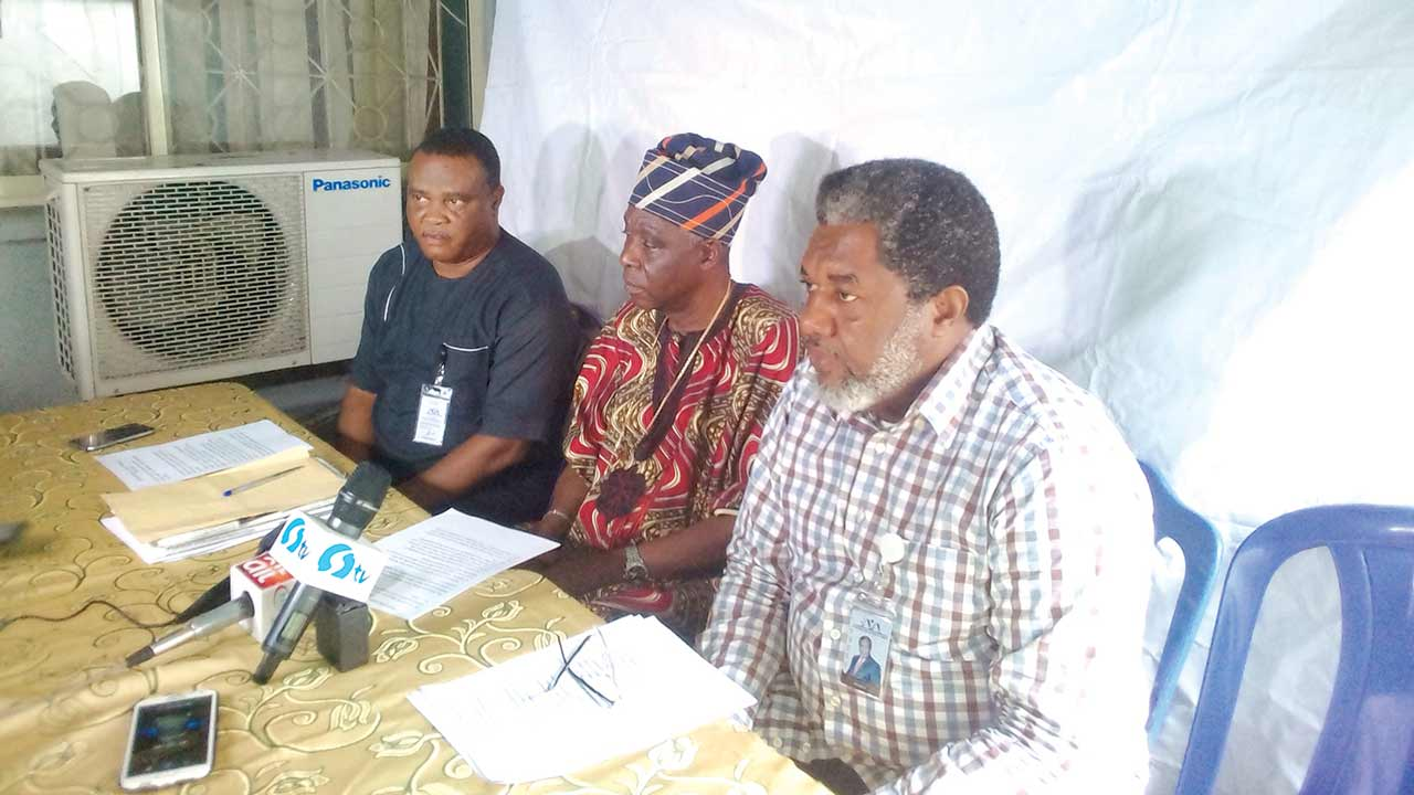 AMP President, Ralph Nwadike (right); chairman, Board of Trustees, Association of Movie Producers and Nigerian Cinema Living Legend (AMPNCLL), Eddie Ugbomah; and AMP Sec. Gen, Forster Ojehonmon, briefing pressmen in Lagos