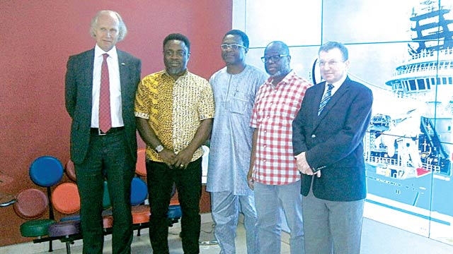 Norwegian Ambassador to Nigeria, Jens-Petter Kjemprud (left); Chief Executive Officer, Marine Platforms, Taofik Adegbite;  Chief Finance Officer, Marine Platforms, Baji Nyam; Chief Operating Officer, Marine Platforms, Biodun Odusi; and  Counsellor, Norwegian Embassy, Tor Oivind Tanum, during a courtesy visit to Marine Platforms office in Lagos.