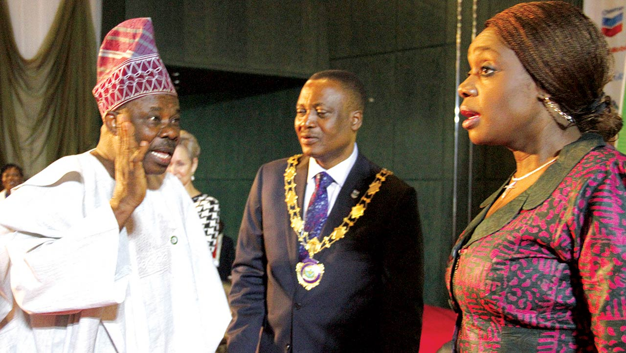 Governor of Ogun State, Ibikunle Amosun (left); President, Institute of Chartered Accountants of Nigeria(ICAN), Titus Soetan; and Minister of Finance, Mrs Kemi Adeosun, during ICAN's 46th Conference in Abuja. Photo: Lucy Ladidi Elukpo