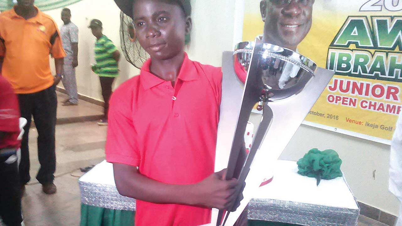 Lucky Onjefu from St. David Mark Golf Academy, Otukpo, Benue State, won the U-16 to 18 category at the just-concluded Third Awa Ibraheem Junior Open Golf Championship.