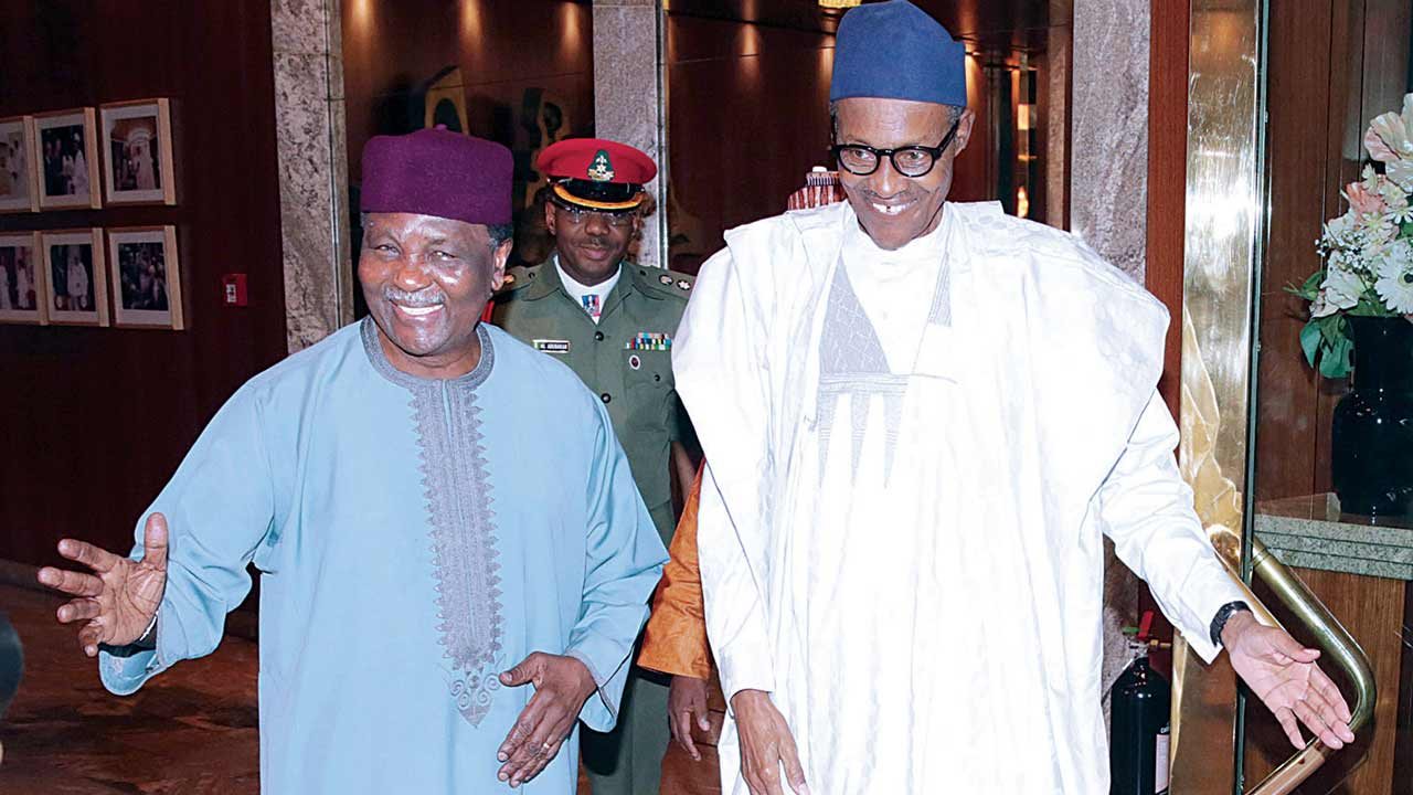 President Buhari (right) when he received former Head of State, Yakubu Gowon, at the State House in Abuja...yesterday PHOTO: PHILIP OJISUA