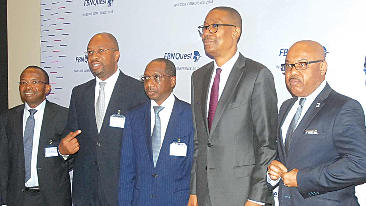 Deputy Managing Director, FBN Merchant Bank, Taiwo Okeowo (left); Managing Director, Kayode Akinkugbe; Chairman, Bello Maccido; Minister of Industry, Trade and Investment, Okechukwu Enyinna Enelamah and Group Managing Director, FBN Holdings, U.K. Eke, during the FBNQuest investors' conference 2016 in Lagos… yesterday. PHOTO: SUNDAY AKINLOLU