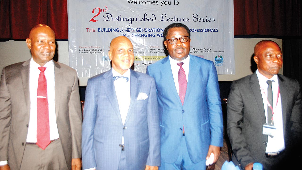 Managing Director, Image Consultants Limited, Vincent Oyo (left); Chairman of the occasion, Biodun Shobanjo; keynote speaker, Debo Adesina of Guardian Newspapers Limited and Acting Head of Department, Mass Communication, University of Lagos, Dr. Oloruntola Sunday, during the second distinguished lecture series to mark the 50th anniversary of the Mass Communication Department…yesterday              PHOTO: OSENI OLADELE YUSUF