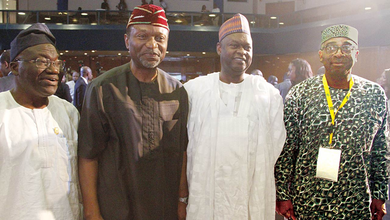Chairman, Industrial Global Union, Sub-Sahara Africa (left); Comrade Issa Aremu; Minister, Budget and National Planning, Udoma Udo Udoma; Chairman, Nigerian Economic Summit Group, Dr. Kyari Bukar; and Chief Executive Officer, Nigerian Exports and Promotion Council, Olusegun Awolowo, at the 22nd Nigerian Economic Summit in Abuja PHOTO: LUCY LADIDI ELUKPO