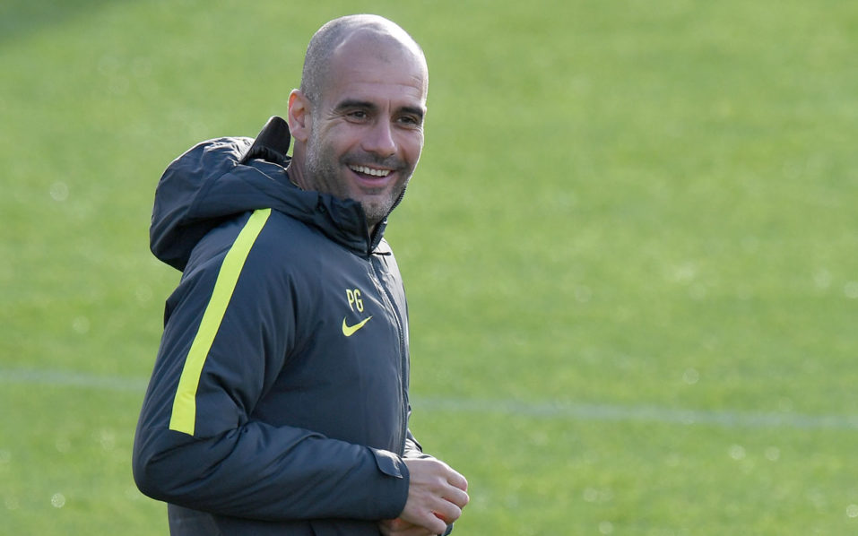 Manchester City's Spanish manager Pep Guardiola  / AFP PHOTO / Anthony Devlin