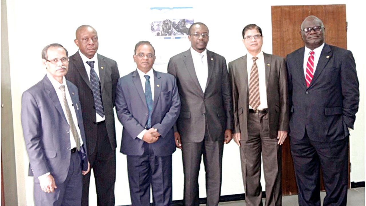 The General Manager, Prestige Assurance Plc, Sarbeswar Sahoo (left); Company Secretary, Abayomi Odulana; MD/CEO, Dr. Balla Swamy; the Chairman, Hassan Usman; Director, Gopalan Raghu; and Director, Mufutau Oyegunle, at the board meeting held recently.