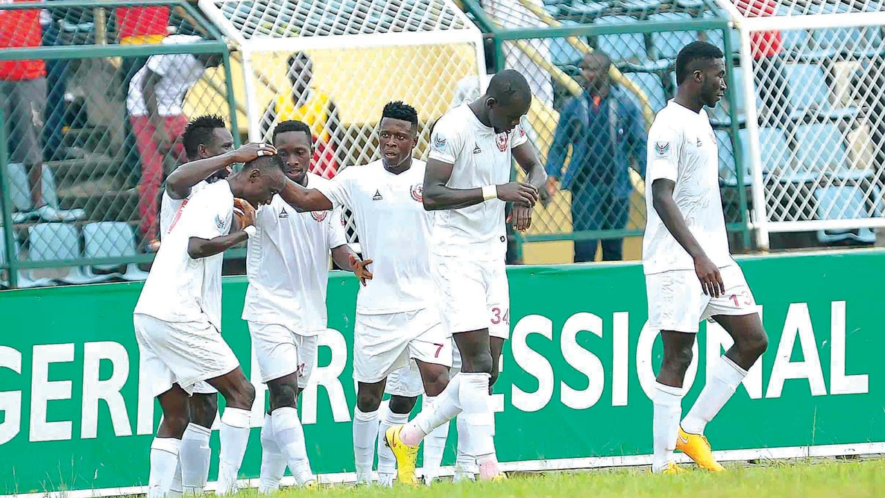 Enugu Rangers celebrating their 2-1 defeat of Ikorodu United at the M.K.O Abiola Stadium, Abeokuta…