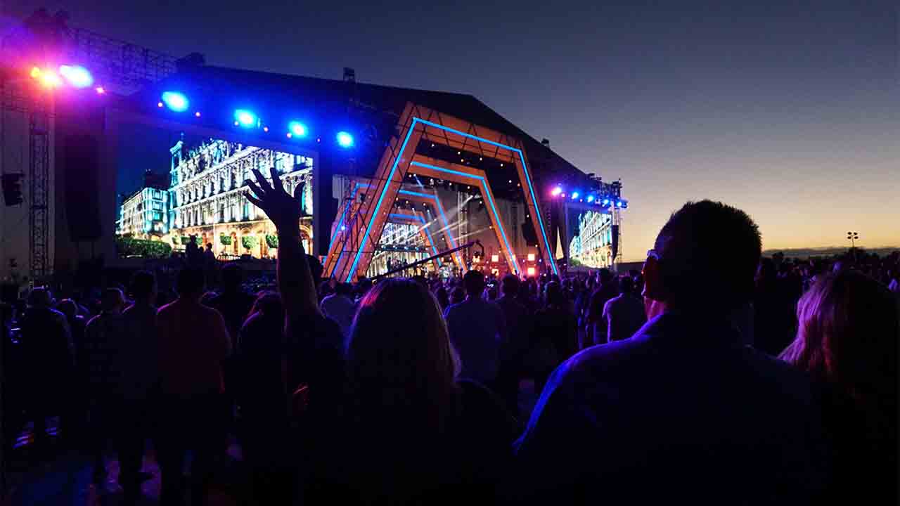 The main stage is seen during the ìRiseUp As Oneî concert at the Cross Border Xpress grounds in Otay Mesa, California on October 15, 2016.  The Two day event at the USñMexico border featured artists, influencers, comedians and thought leaders andcelebrates diversity and inclusion throughperformances, talks, and cultural expositions. / AFP PHOTO / Sandy Huffaker