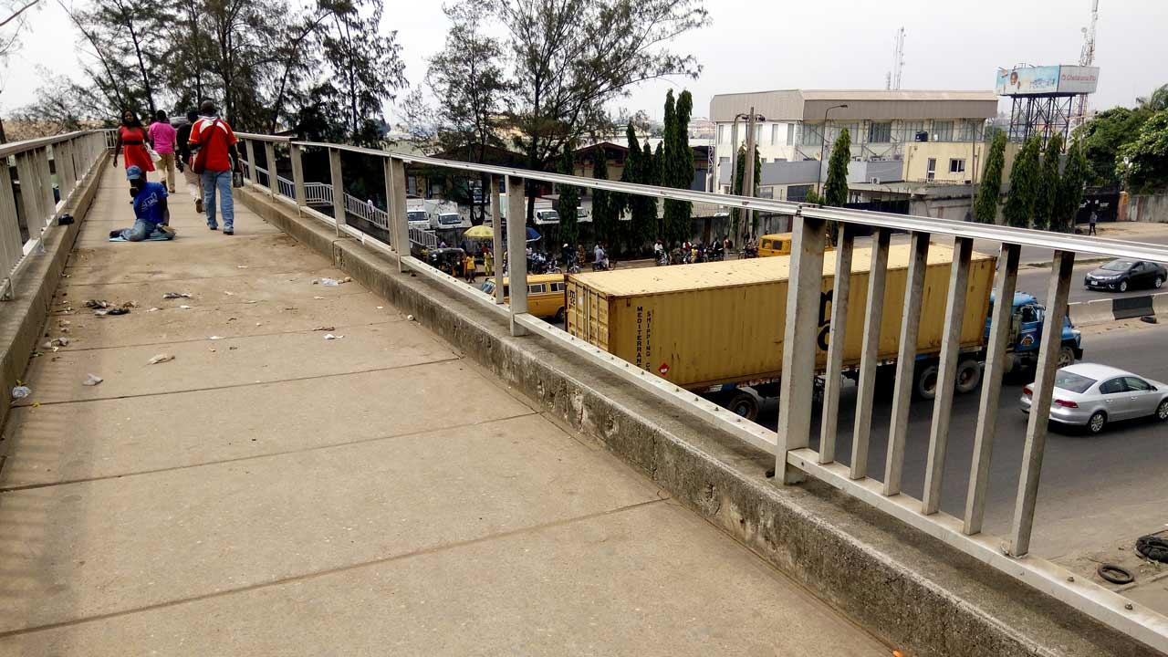 Sections of the vandalised Five Star Bus Stop overhead pedestrian bridge, along Oshodi Apapa Expressway