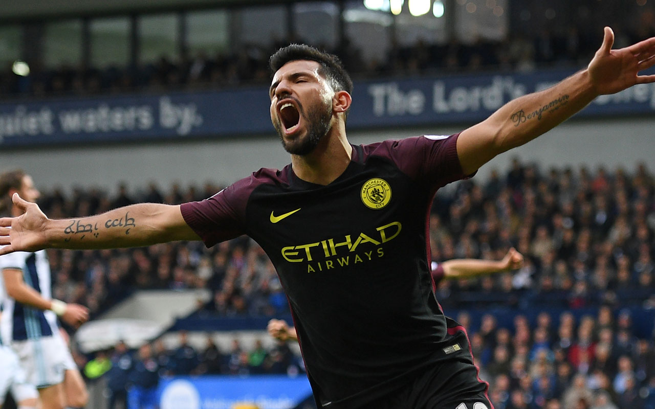 Manchester City's Argentinian striker Sergio Aguero / AFP PHOTO / Justin TALLIS /