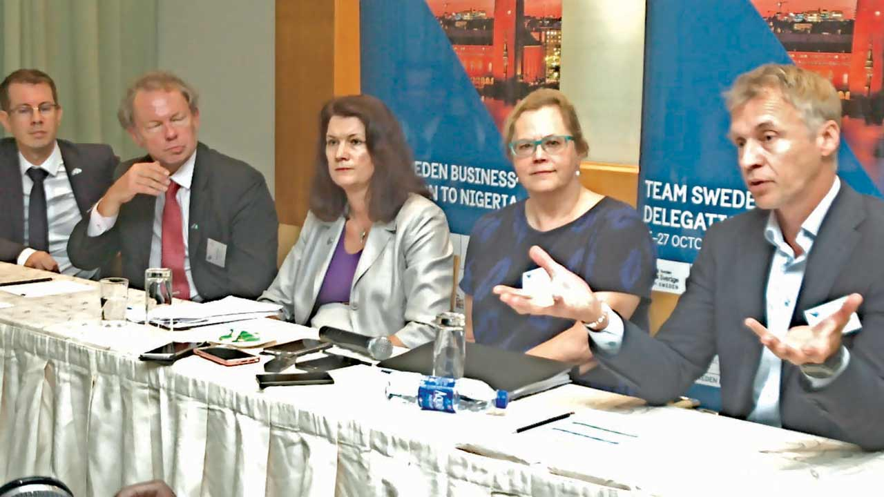 Unit Manager, Magreb and West Africa, Ludvig Hermansson (left); Head, Trade Promotion, Africa Department, Ministry for Foreign Affairs, Brengt Carlsson; Minister for EU Affairs and Trade, Ann Linde; Swedish Ambassador to Nigeria Inger Ultvedt, and Managing Director, Ericsson Nigeria, Johan Jemedahl, at the Swedish –Nigeria Smart Cities and ICT conference held in Lagos.