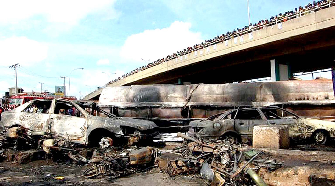 Scene of a previous tanker fire incident in Ibadan, which consumed 15