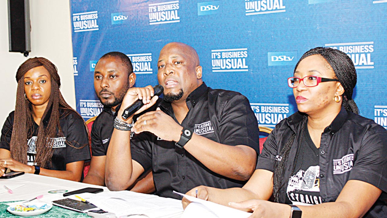 Head of Retention, MultiChoice Nigeria, Kemi Omotosho (left); Brand Manager, MultiChoice Nigeria, Tope Oshunkeye; General Manager, Marketing and Sales, MultiChoice Nigeria, Martin Mabutho and Public Relations Manager, MultiChoice Nigeria, Caroline Oghuma during the press conference to announce 'Business Unusual' - introducing additional content across DStv packages in Ikeja Photo: Femi Adebesin-Kuti