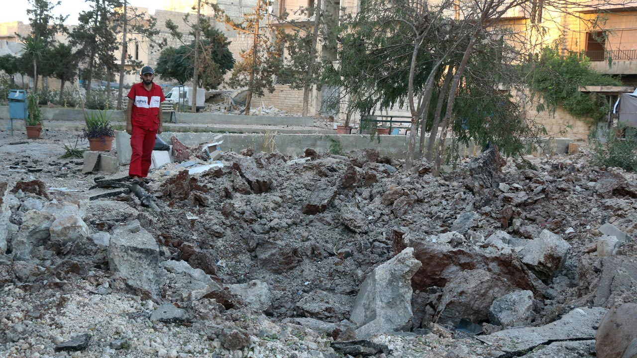 A Syrian medical staff member inspects the damage at the site of a medical facility after it was reportedly hit by Syrian regime barrel bombs on October 1, 2016, in the rebel-held neighbourhood of al-Sakhour, in the northern city of Aleppo. The largest hospital in rebel-held east Aleppo was bombed for the second time in days as Syrian government forces pressed a Russian-backed offensive to retake the entire city. PHOTO: THAER MOHAMMED / AFP